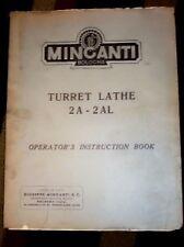 Minganti Turret Lathe 2A-2AL Operator Manual 2 A/AL