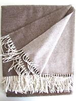 Kaschmirdecke doppelseitig beige/creme, Wolldecke aus Kaschmir,  150x210 cm