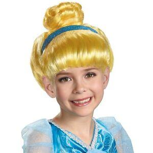 Child Kids Disney Princess Movie Chinderella Yellow Dress Ball Hair Costume Wig