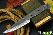 """8.6"""" Oal Hand Forged Hammered Damascus Steel Blank Blade Chef Knife Handmade (B)"""