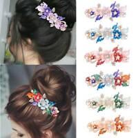 Womens Girls Crystal Rhinestone Flower Bling Barrette Hair Clip Clamp Hairpin