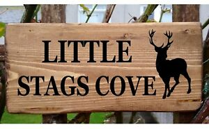 Personalised House Stag Deer Sign Custom Outdoor Wooden Name Plate Farm Plaque