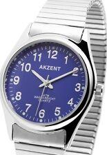 Herren Armbanduhr Silber/Blau mit Metall-Zugband Zugarmband von AKZENT 7623/18