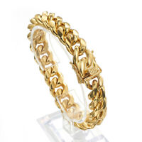 "14k Gold Mens Cuban Link Bracelet High Quality Stainless Steel Bangle 7""-11"""