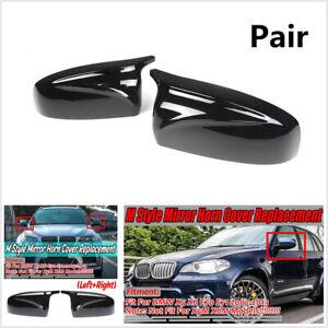 For BMW X5 X6 E70 E71 07-13 2Pc Glossy Black Car Side Rear View Mirror Cap Cover