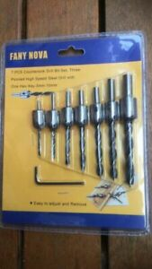 AU 7pcs HSS 5 Flute Countersink Drills Bit Reamer Set Woodworking Chamfer 3-10mm