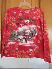 Holiday Editions Woman Shirt Christmas  w/ Embellishments Long Sleeve Size Small