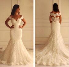 Off-Shoulder White Ivory Mermaid Lace Wedding Dresses Bridal Gowns custom Size