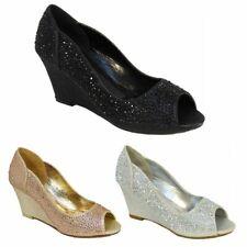 Señoras Diamante Brillante Cuña Peep Toe De Noche De Fiesta Talón Mediados Zapatos Talla 3-8