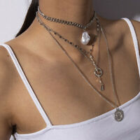 Gothic Women Multi-layer Long Chain Pendant Pearl Choker Necklace Jewelry Gift.