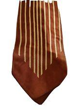 "Rare Vintage TV Panels Brown Yellow Vertical Stripes Tie 54"" Custom Tailored"
