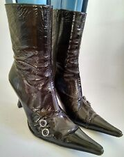 L'Idea by Lori Womens Black Patent Leather High Heel Ankle Boots Size UK 5 EU 38