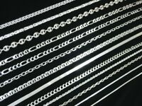 Italian 925 Silver Snake Ball Rope Cable Curb Trace Box Spiga Figaro Omega Chain