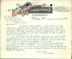 1890 Chicago Illinois (IL) Letter Staver & Abbott Manufacturing Co.