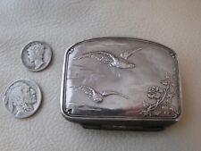 Antique Victorian Art Nouveau BIRD Sterling Silver Card Case Child Coin Purse