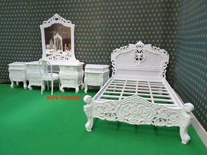 Solid White Small Double  French style designer Mahogany Rococo Bed TOP QUALITY