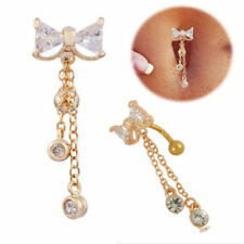 Cute Belly Bars Cheap Drop Dangle Body Piercing Button Ring Crystal Gold Bar Bow