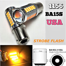 Strobe Brake Light 1156 BA15S 33SMD 180° LED Projector Lens Amber Bulb K1 HAK