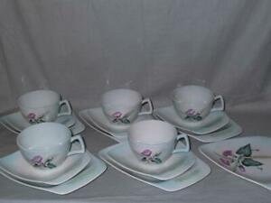 5 Carlton Ware Trios Morning Glory Convolvulus Pattern Cups Saucers Plates
