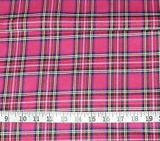 5m Cerise Pink Stewart Tartan Woven Fabric Ideal for Dog Clothing Dress Crafts