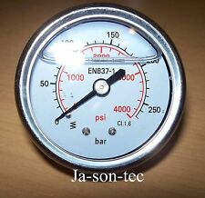 Manometer für  Hochdruckreiniger  Anschluss 1/4 Zoll  63 mm Duchmesser 250 bar