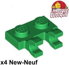 Lego - 4x Plate Modified 1x2 Clips Horizontal open O clip vert/green 60470b NEUF
