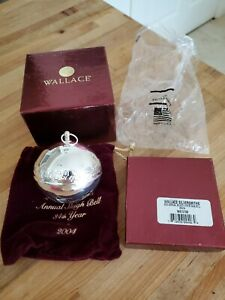WALLACE 2004 SILVER PLATED SLEIGH BELL CHRISTMAS ORNAMENT WITH POUCH AND BOX