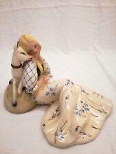 Tiziano Galli donna con daino anni '50 Italian ceramic