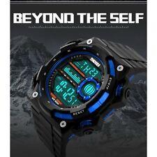 Hot Sale Men Sports Digital LED Rubber Strap 50M Waterproof Wristwatch-Blue 2017