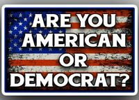 """ARE YOU AN AMERICAN OR A DEMOCRAT?"" Anti Liberal TRUMP STICKER pro gun rights"