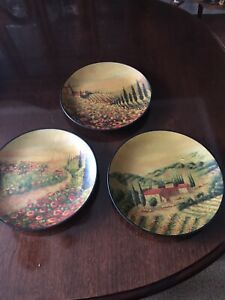 3 Painted Tuscany Decorative Plates Country Scene Home Decor Wall Art