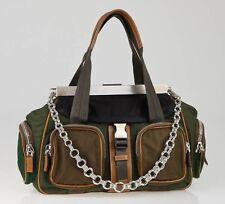 Prada Olive Green & Brown TESSUTO ACTIVE Duffel Bag Silver Hdware Retail: $1,225