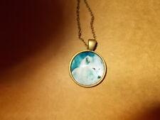 "Beautiful! White Wolf pendant & 18"" Necklace "" New """
