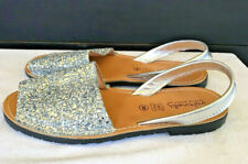 Abarcas menorquinas  Leather Sandals Silver Glitter  Made In Spain. Size 39 / 8