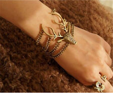 Retro Full Diamante Multilayer Mysterious Deer Head Fashion Bracelet gold