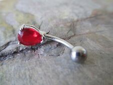 Red Gem Teardrop Pear Surgical Steel Belly Button Navel Ring Body Jewelry