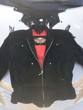 Harley Davidson Black Leather Suede Fringe Motorcycle Biker Jacket Womans L +Acc