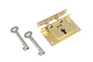 Half Mortise Lock Chest Trunk Large Box Lock Solid Brass Cabinet Lock 2 Keys