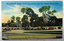 Linen Postcard Candlelight Lodge Motel Daytona Beach Florida #77