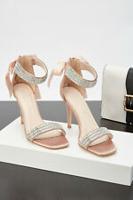Nude/Beige Satin Diamante Heels Size 8 Ribbon Bow Prom Stilettos Sandals Shoes