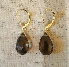 14 k Yellow Gold Earrings with Smoky Topaz 10×15 pear shape