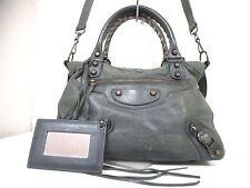 Authentic BALENCIAGA Dark Gray The Town 240579 Leather Handbag w/Strap