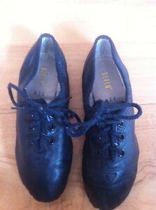 Child's BLOCH Black Leather Jazz Dance Shoes Size 11.5 Split Sole Lace Up