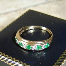 Ladies 9ct Gold Diamond & Emerald half band Ring