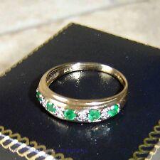 Ladies 9ct Gold Diamond & Emerald half band Ring