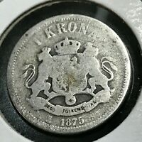 1875 SWEDEN SILVER ONE KRONA NICE LOW MINTAGE COIN