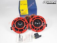 Pair Hella Supertone Horns kit (Red Grille) 12v 300/500Hz P/N 003399801