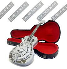 Mini Guitar Mark Knopfler dobro dire + case shaped box 1:4 miniature collectible