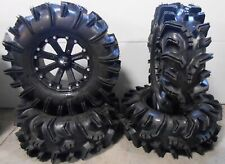 "MSA Black Kore 14"" UTV Wheels 28"" Terminator Tires Kawasaki Mule Pro FXT"