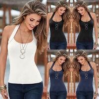 Women Summer Halter Neck Vest Top Sleeveless Blouse Casual Tank Tops T-Shirt!